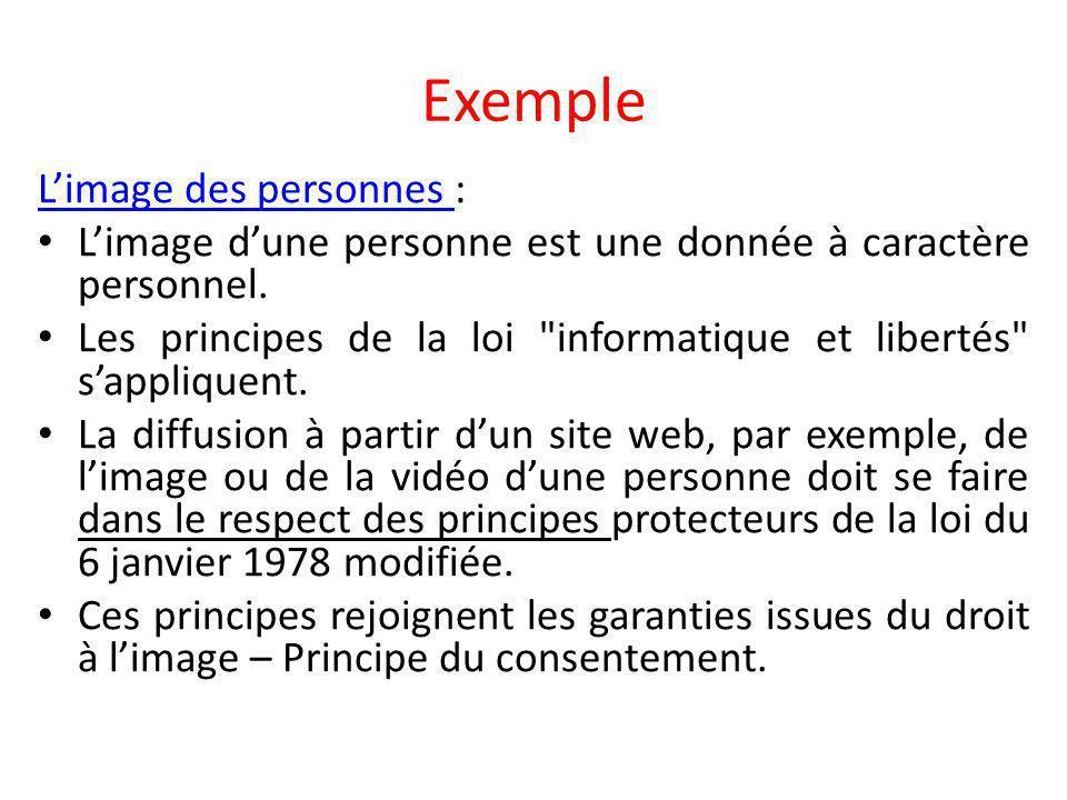 Exemple L'image des personnes L'image des personnes : L'image d'une personne est une donnée à caractère personnel.