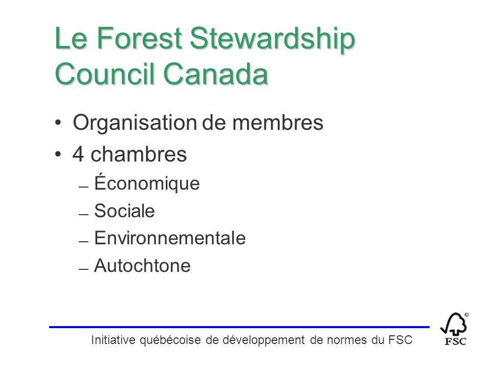 Initiative québécoise de développement de normes du FSC Le Forest Stewardship Council Canada Organisation de membres 4 chambres — Économique — Sociale