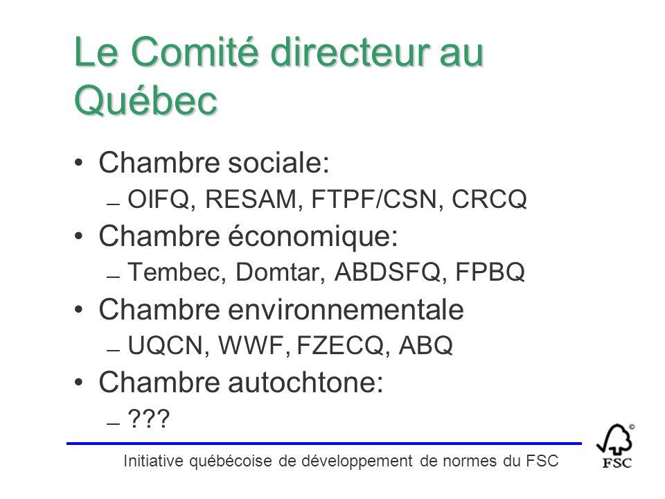 Initiative québécoise de développement de normes du FSC Le Comité directeur au Québec Chambre sociale: — OIFQ, RESAM, FTPF/CSN, CRCQ Chambre économiqu