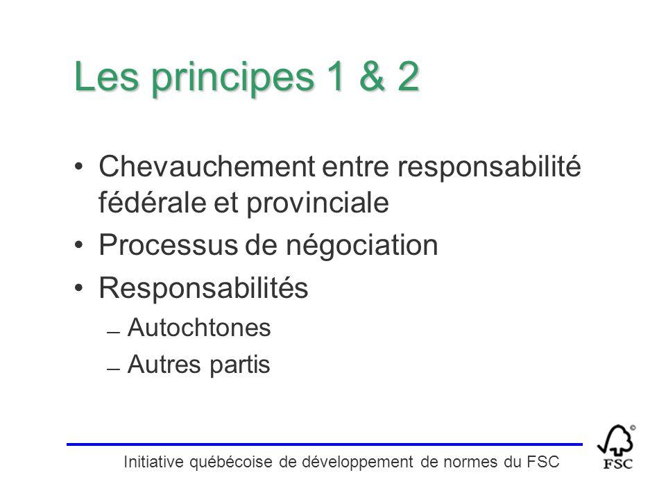 Initiative québécoise de développement de normes du FSC Les principes 1 & 2 Chevauchement entre responsabilité fédérale et provinciale Processus de né