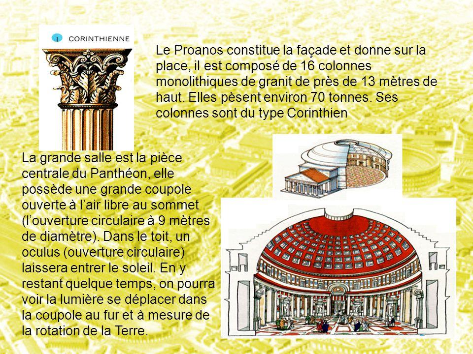 Le Proanos constitue la façade et donne sur la place, il est composé de 16 colonnes monolithiques de granit de près de 13 mètres de haut. Elles pèsent