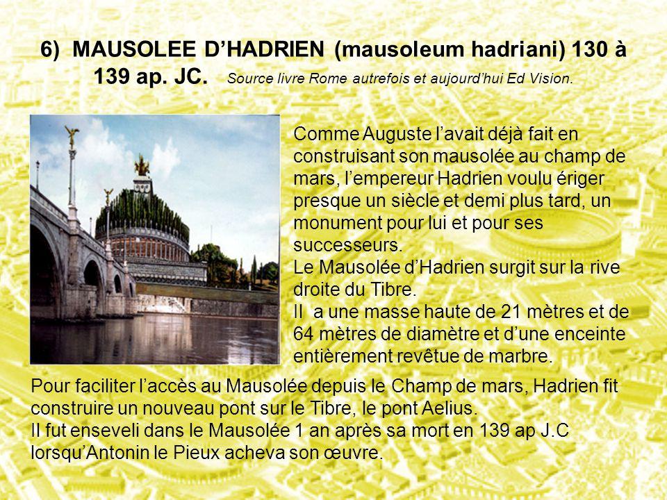 6) MAUSOLEE D'HADRIEN (mausoleum hadriani) 130 à 139 ap. JC. Source livre Rome autrefois et aujourd'hui Ed Vision. Comme Auguste l'avait déjà fait en