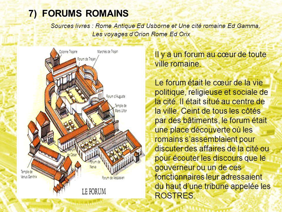 7) FORUMS ROMAINS Sources livres : Rome Antique Ed Usborne et Une cité romaine Ed Gamma, Les voyages d'Orion Rome Ed Orix Il y a un forum au cœur de t