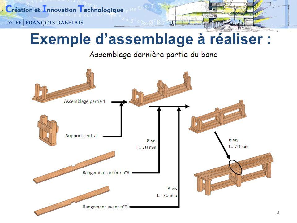 C réation et I nnovation T echnologique 14 Exemple d'assemblage à réaliser :