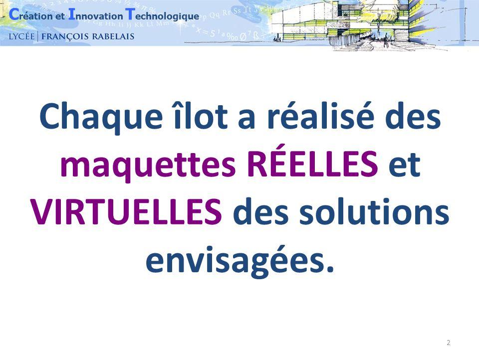 C réation et I nnovation T echnologique 3 Exemples de réalisation Maquettes en bois échelle 1/10 ème Banc 7 places Banc 3 places