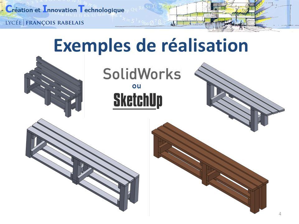 C réation et I nnovation T echnologique 4 Exemples de réalisation ou