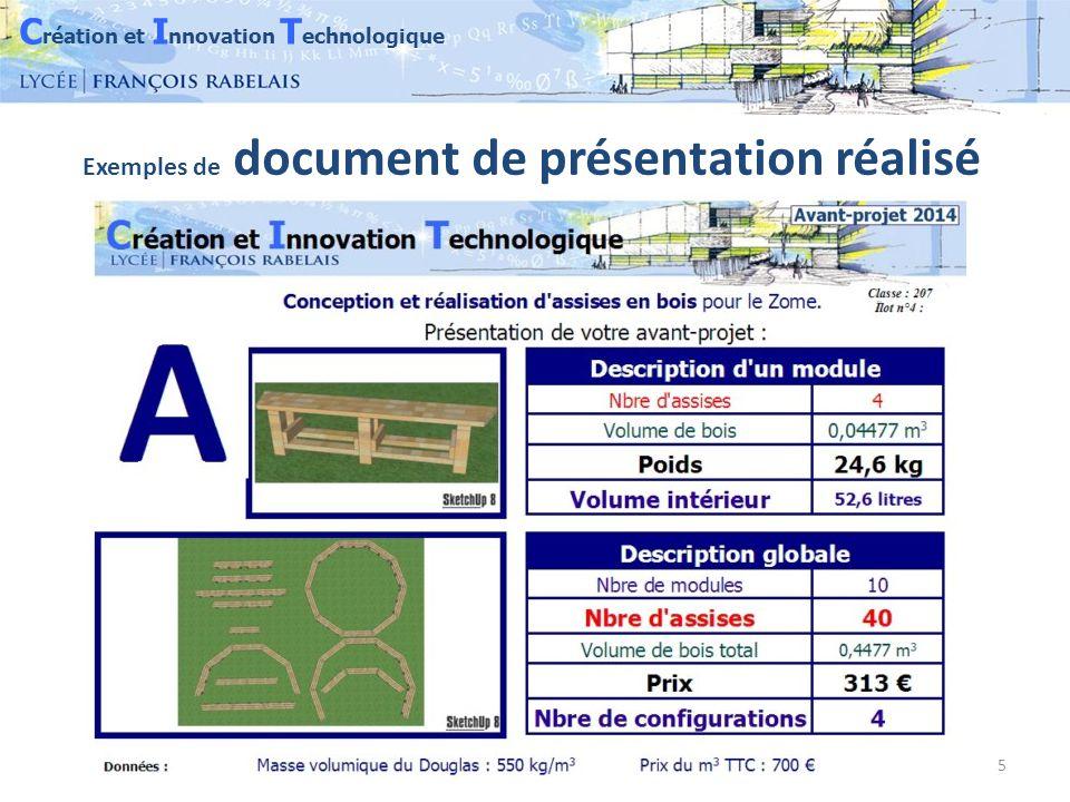 C réation et I nnovation T echnologique 5 Exemples de document de présentation réalisé