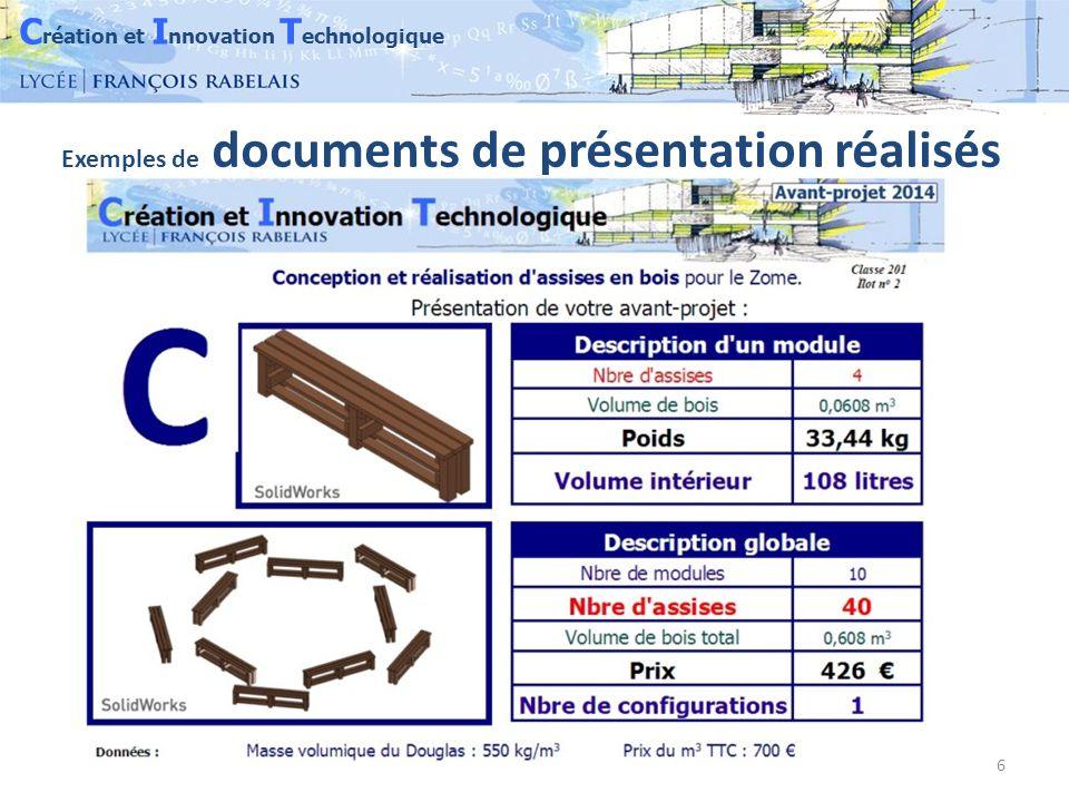 C réation et I nnovation T echnologique 6 Exemples de documents de présentation réalisés