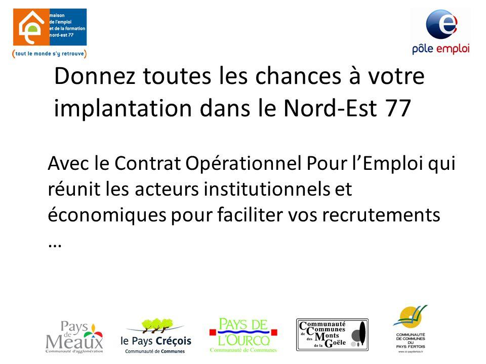 Donnez toutes les chances à votre implantation dans le Nord-Est 77 Avec le Contrat Opérationnel Pour l'Emploi qui réunit les acteurs institutionnels et économiques pour faciliter vos recrutements …