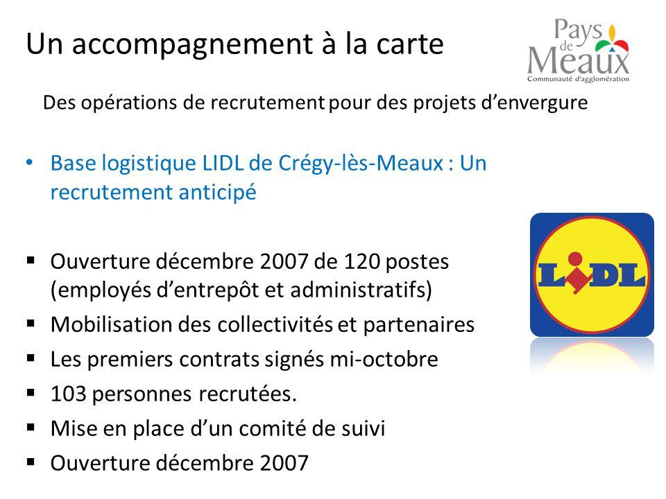 Un accompagnement à la carte Base logistique LIDL de Crégy-lès-Meaux : Un recrutement anticipé  Ouverture décembre 2007 de 120 postes (employés d'entrepôt et administratifs)  Mobilisation des collectivités et partenaires  Les premiers contrats signés mi-octobre  103 personnes recrutées.
