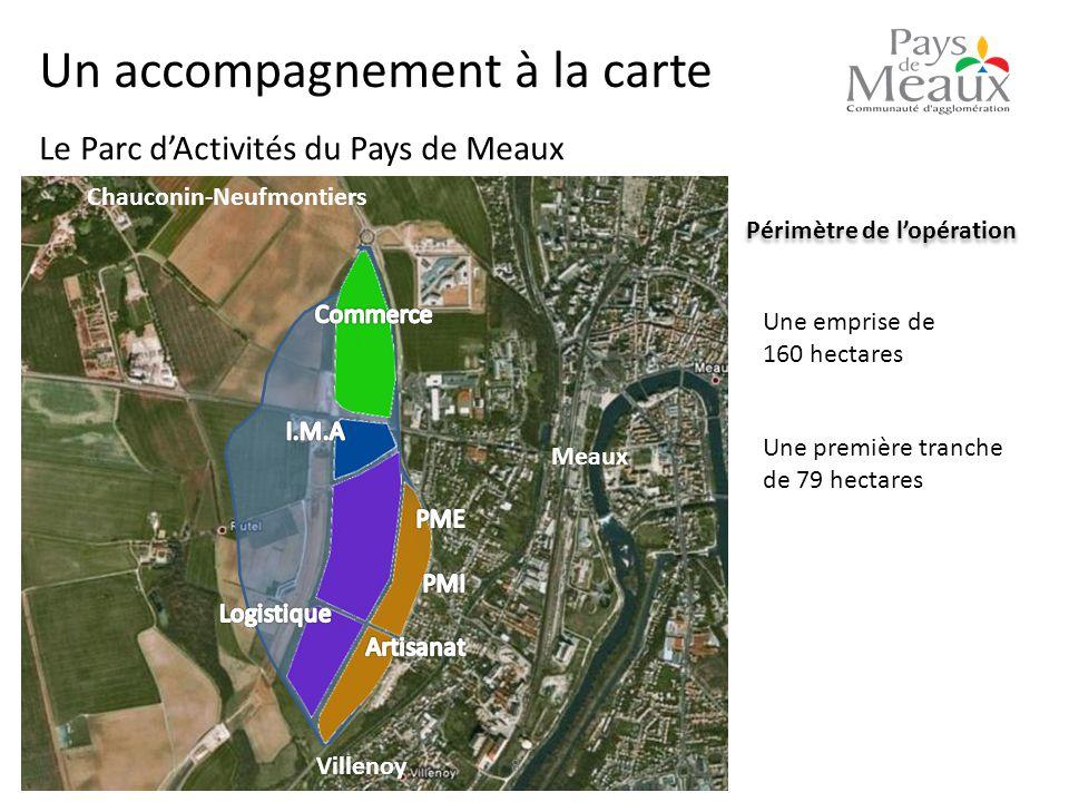 Périmètre de l'opération Une emprise de 160 hectares Une première tranche de 79 hectares 8 Le Parc d'Activités du Pays de Meaux Meaux Villenoy Chauconin-Neufmontiers Un accompagnement à la carte
