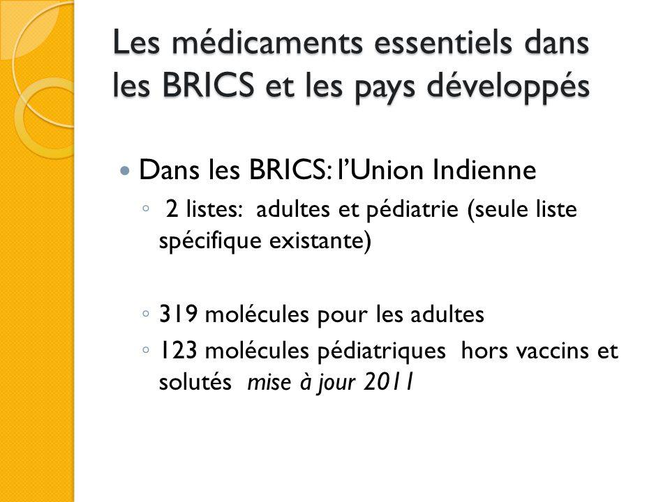 Les médicaments essentiels dans les BRICS et les pays développés Dans les BRICS: La Chine ◦ 185 molécules (la plus restreinte des listes) mise à jour 2009