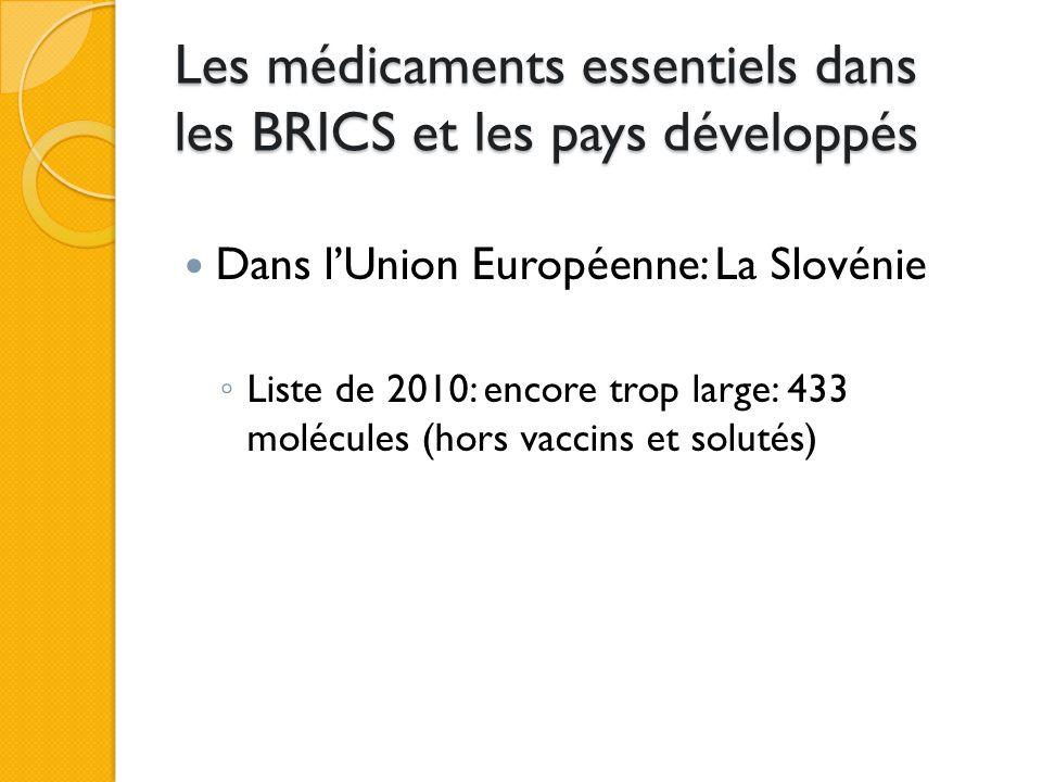 Les médicaments essentiels dans les BRICS et les pays développés Dans l'Union Européenne: La Slovénie ◦ Liste de 2010: encore trop large: 433 molécules (hors vaccins et solutés)