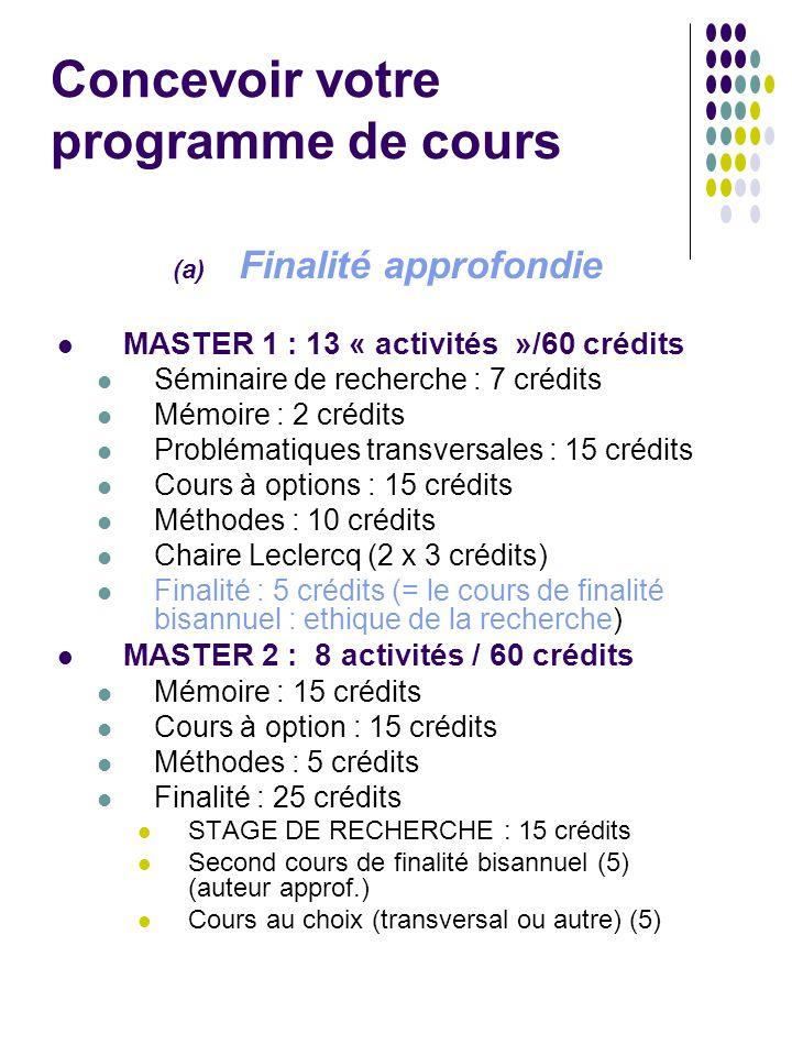 Concevoir votre programme de cours (a) Finalité approfondie MASTER 1 : 13 « activités »/60 crédits Séminaire de recherche : 7 crédits Mémoire : 2 créd