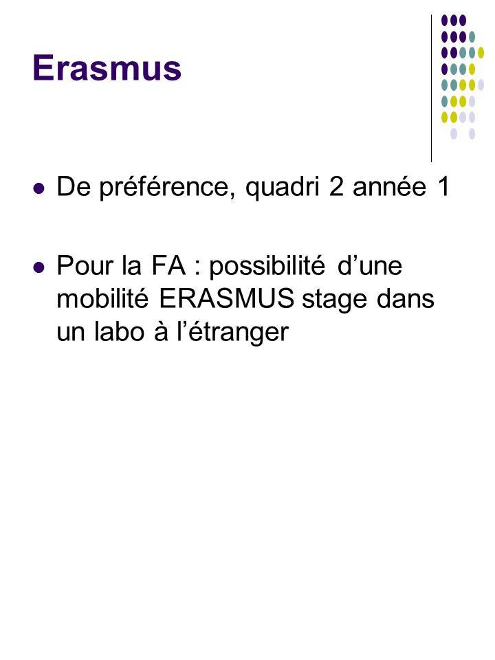 Erasmus De préférence, quadri 2 année 1 Pour la FA : possibilité d'une mobilité ERASMUS stage dans un labo à l'étranger