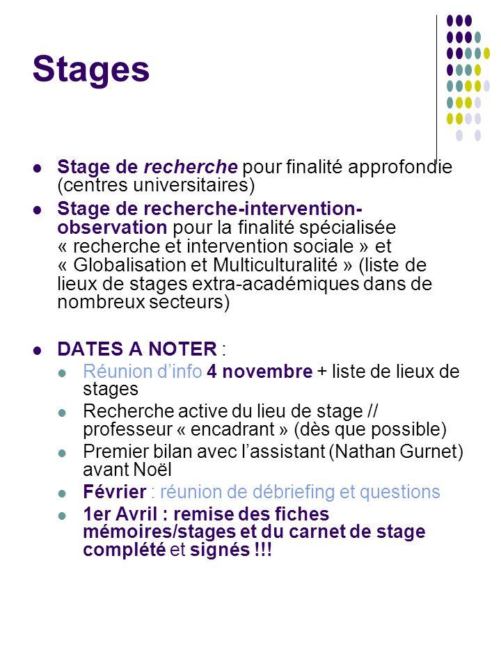Stages Stage de recherche pour finalité approfondie (centres universitaires) Stage de recherche-intervention- observation pour la finalité spécialisée