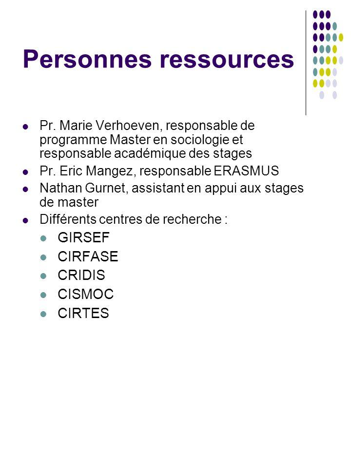Personnes ressources Pr. Marie Verhoeven, responsable de programme Master en sociologie et responsable académique des stages Pr. Eric Mangez, responsa