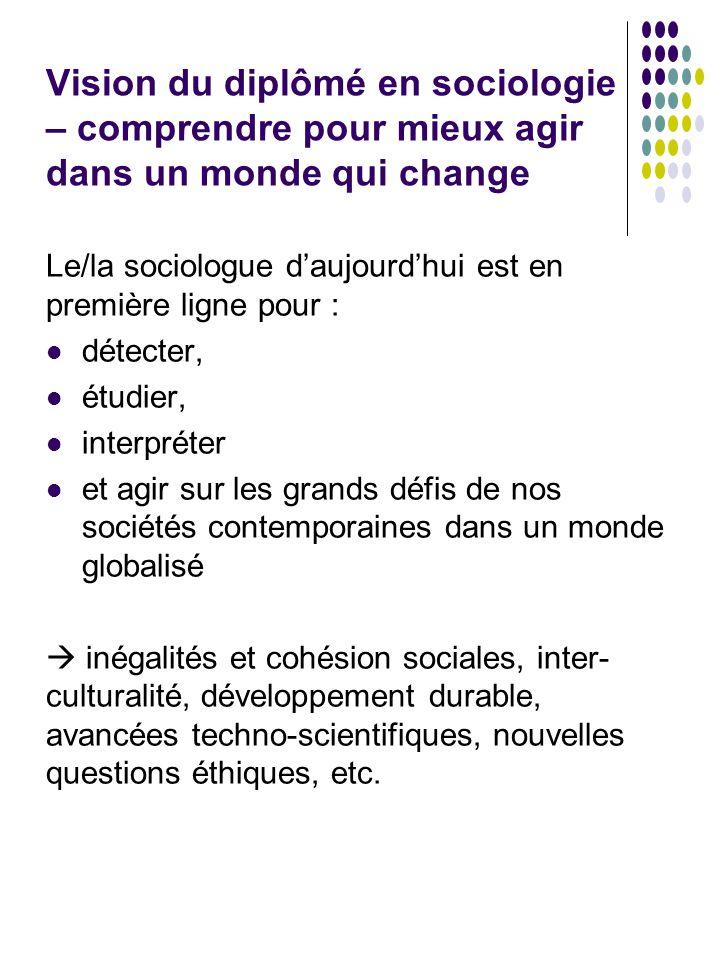 Vision du diplômé en sociologie – comprendre pour mieux agir dans un monde qui change Le/la sociologue d'aujourd'hui est en première ligne pour : déte