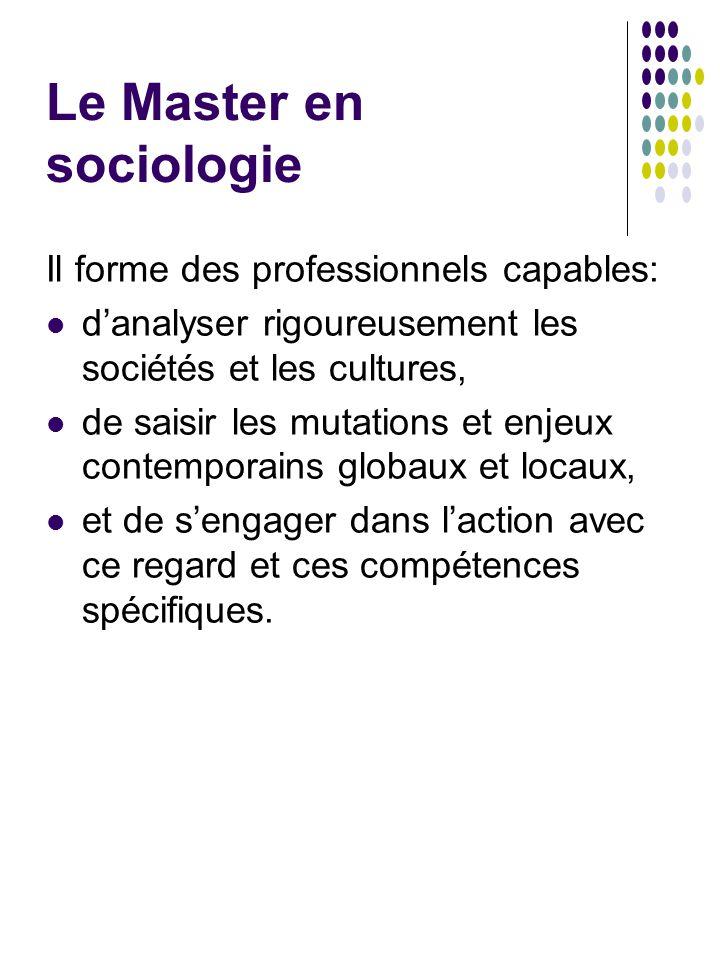 Le Master en sociologie Il forme des professionnels capables: d'analyser rigoureusement les sociétés et les cultures, de saisir les mutations et enjeu