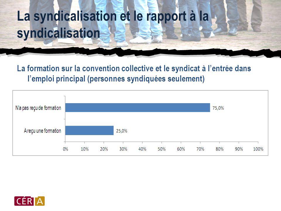 La syndicalisation et le rapport à la syndicalisation La formation sur la convention collective et le syndicat à l'entrée dans l'emploi principal (personnes syndiquées seulement)