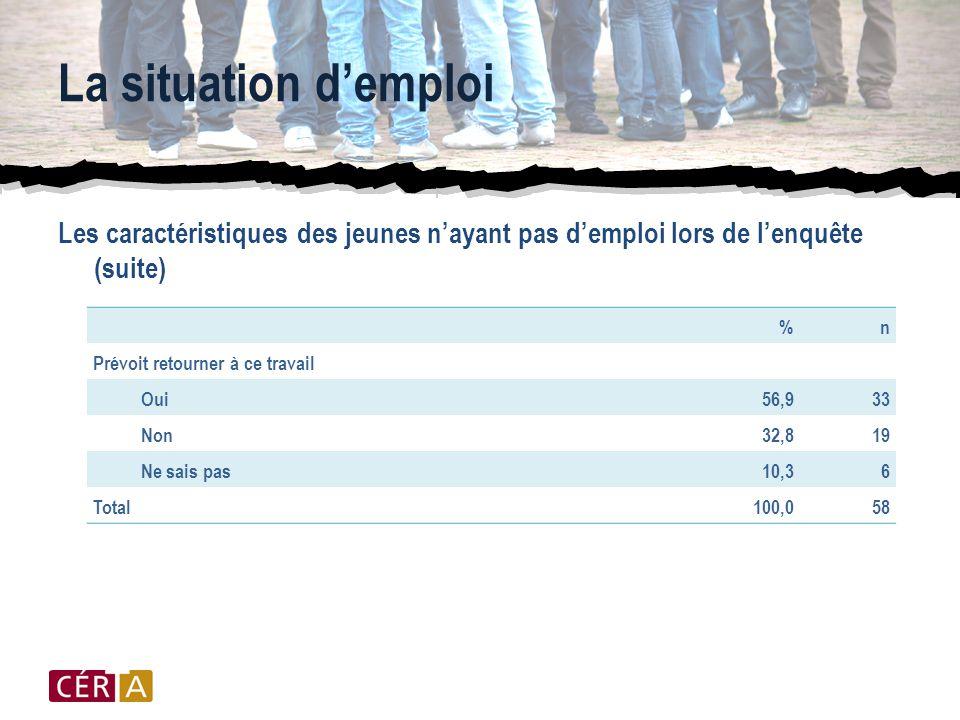 La situation d'emploi Les caractéristiques des jeunes n'ayant pas d'emploi lors de l'enquête (suite) %n Prévoit retourner à ce travail Oui56,933 Non32,819 Ne sais pas10,36 Total100,058