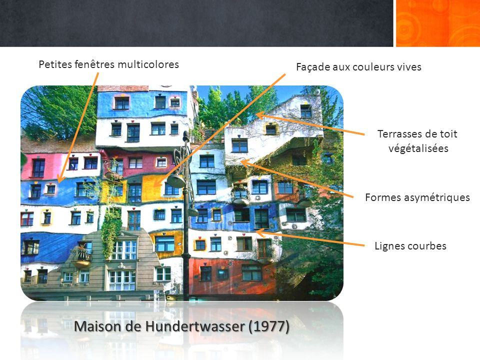 Petites fenêtres multicolores Façade aux couleurs vives Lignes courbes Terrasses de toit végétalisées Formes asymétriques Maison de Hundertwasser (1977)