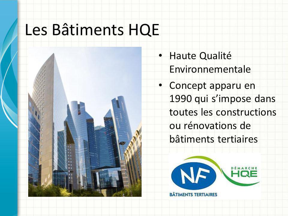 Les Bâtiments HQE Haute Qualité Environnementale Concept apparu en 1990 qui s'impose dans toutes les constructions ou rénovations de bâtiments tertiai