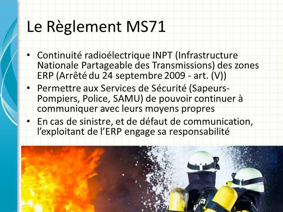 Le Règlement MS71 Continuité radioélectrique INPT (Infrastructure Nationale Partageable des Transmissions) des zones ERP (Arrêté du 24 septembre 2009