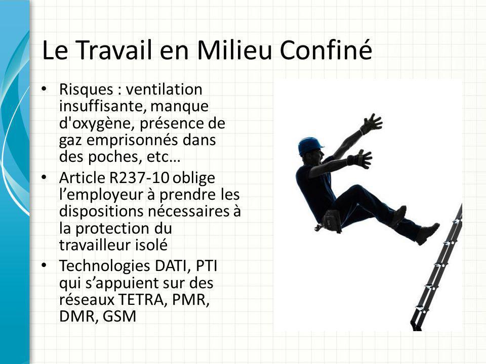Le Travail en Milieu Confiné Risques : ventilation insuffisante, manque d'oxygène, présence de gaz emprisonnés dans des poches, etc… Article R237-10 o
