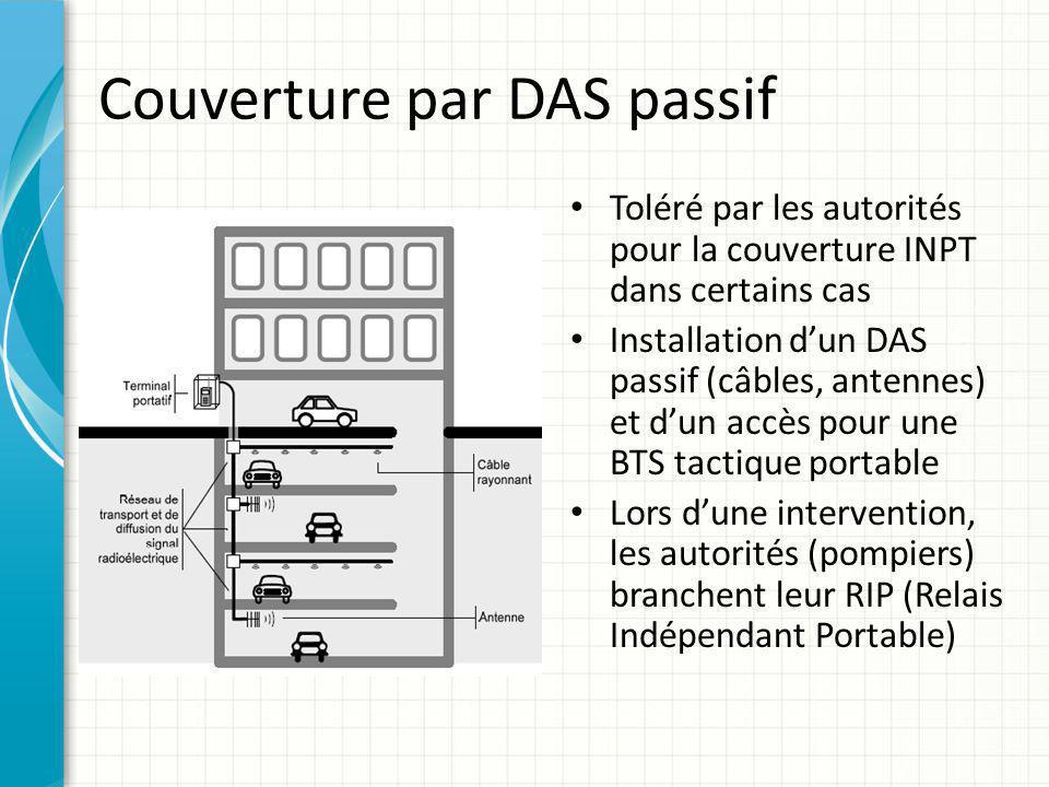Couverture par DAS passif Toléré par les autorités pour la couverture INPT dans certains cas Installation d'un DAS passif (câbles, antennes) et d'un a