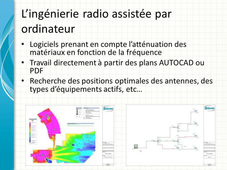 L'ingénierie radio assistée par ordinateur Logiciels prenant en compte l'atténuation des matériaux en fonction de la fréquence Travail directement à p