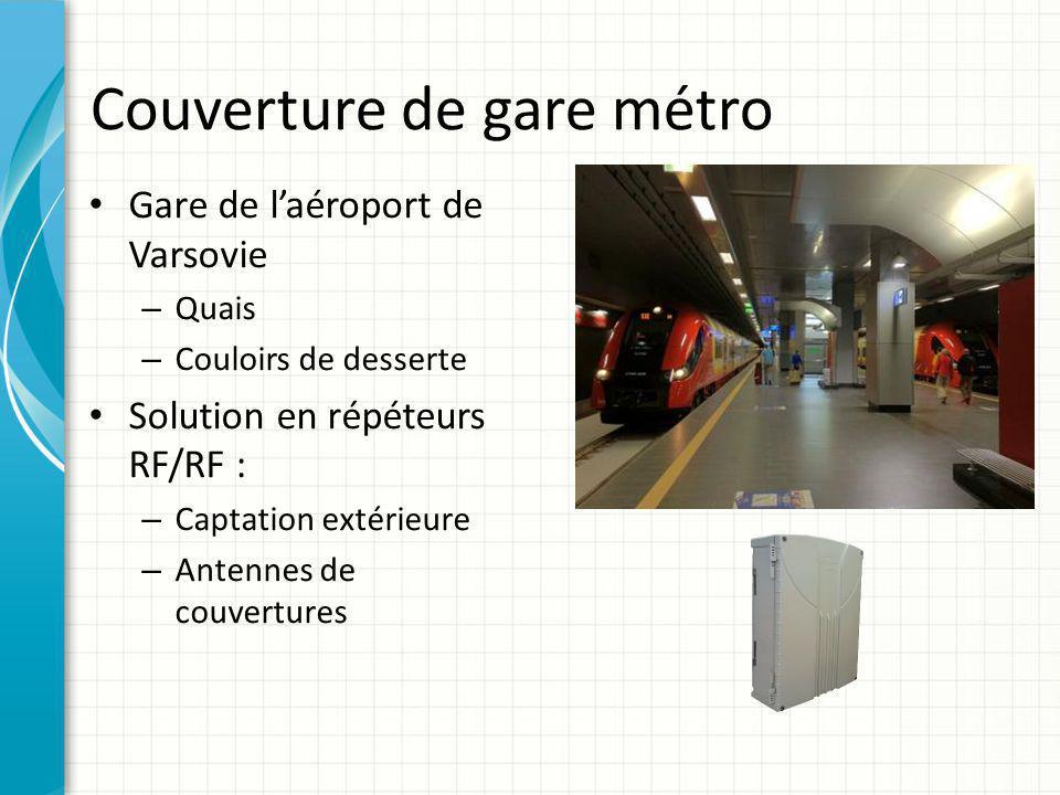 Couverture de gare métro Gare de l'aéroport de Varsovie – Quais – Couloirs de desserte Solution en répéteurs RF/RF : – Captation extérieure – Antennes