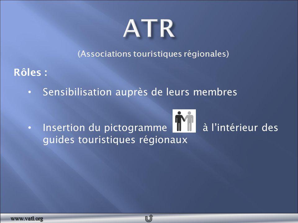 Sensibilisation auprès de leurs membres Insertion du pictogramme à l'intérieur des guides touristiques régionauxwww.vatl.org (Associations touristique