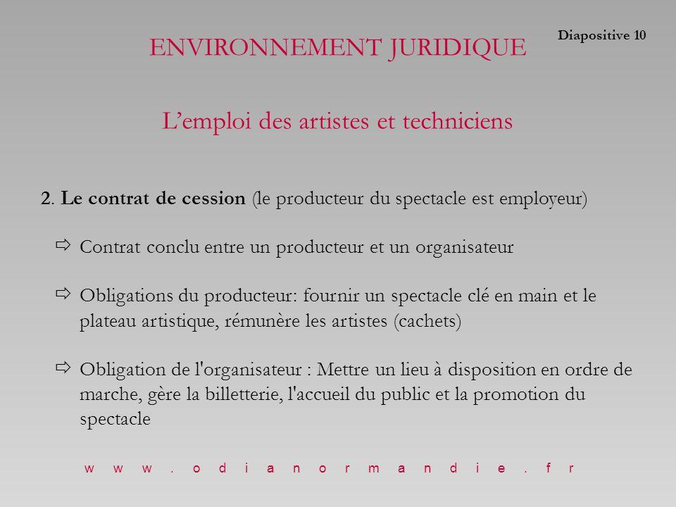 2. Le contrat de cession (le producteur du spectacle est employeur)  Contrat conclu entre un producteur et un organisateur  Obligations du producteu