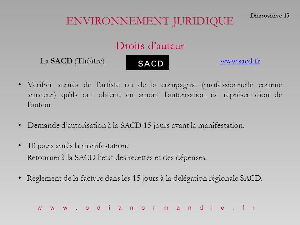 La SACD (Théâtre)www.sacd.frwww.sacd.fr Vérifier auprès de l'artiste ou de la compagnie (professionnelle comme amateur) qu ils ont obtenu en amont l autorisation de représentation de l auteur.