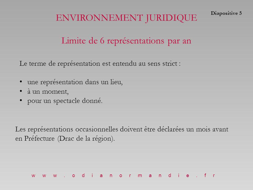 ENVIRONNEMENT JURIDIQUE Limite de 6 représentations par an Le terme de représentation est entendu au sens strict : une représentation dans un lieu, à un moment, pour un spectacle donné.