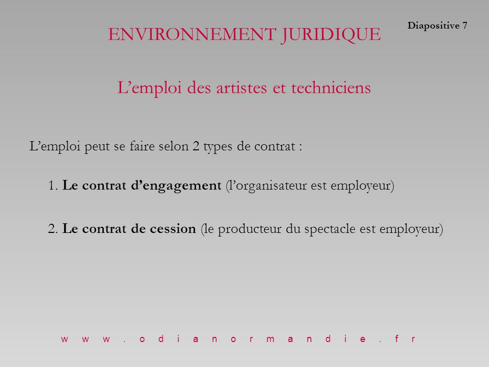 1.Le contrat d'engagement (l'organisateur est employeur des artistes) Conclu directement avec l'artiste L'organisateur devient l'employeur légal des artistes.