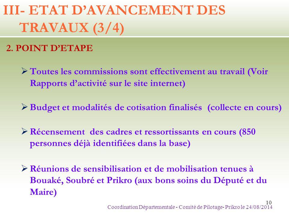 2. POINT D'ETAPE  Toutes les commissions sont effectivement au travail (Voir Rapports d'activité sur le site internet)  Budget et modalités de cotis