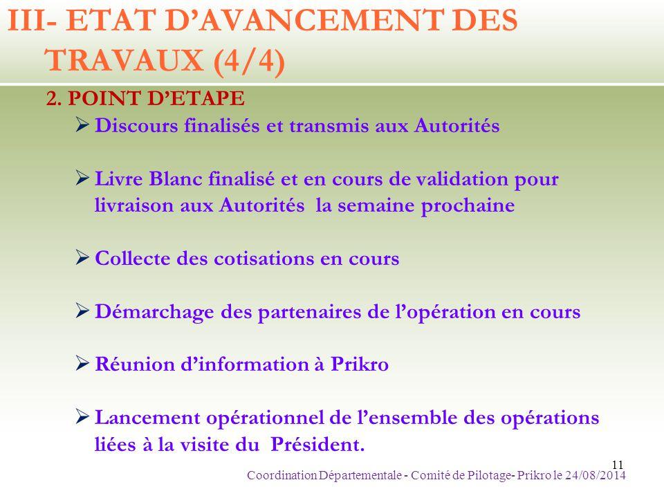 III- ETAT D'AVANCEMENT DES TRAVAUX (4/4) 2. POINT D'ETAPE  Discours finalisés et transmis aux Autorités  Livre Blanc finalisé et en cours de validat