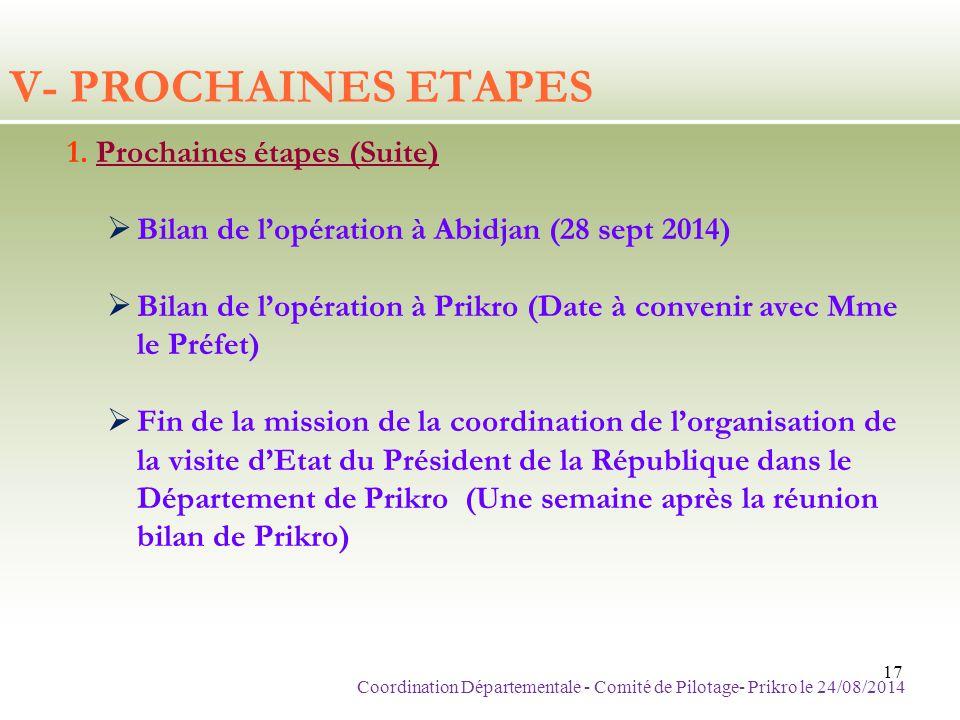 V- PROCHAINES ETAPES 1. Prochaines étapes (Suite)  Bilan de l'opération à Abidjan (28 sept 2014)  Bilan de l'opération à Prikro (Date à convenir ave