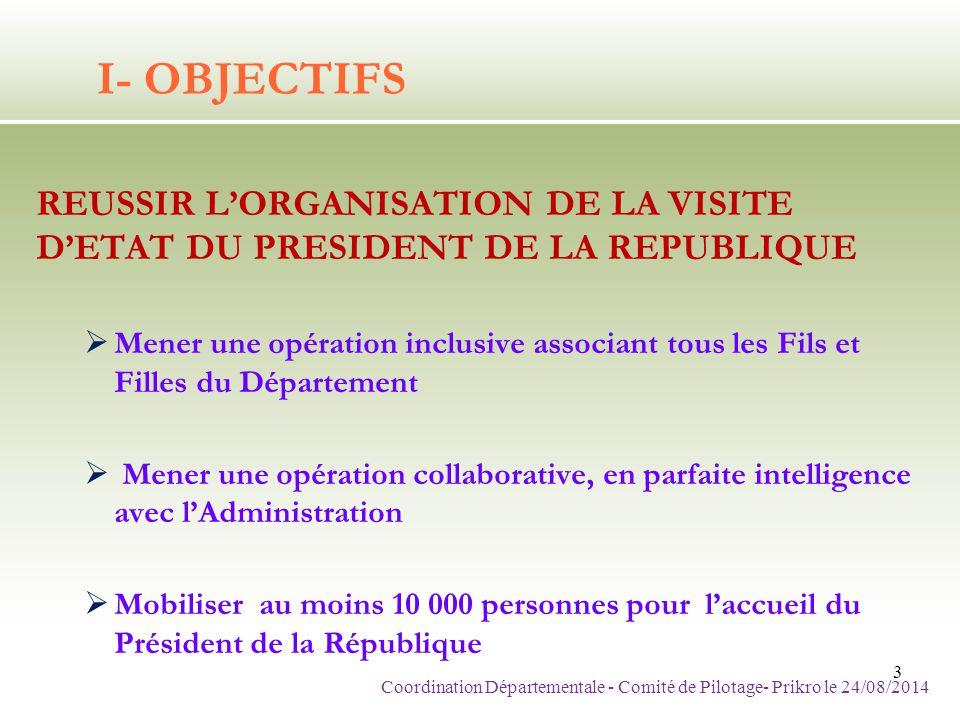 I- OBJECTIFS REUSSIR L'ORGANISATION DE LA VISITE D'ETAT DU PRESIDENT DE LA REPUBLIQUE  Mener une opération inclusive associant tous les Fils et Fille