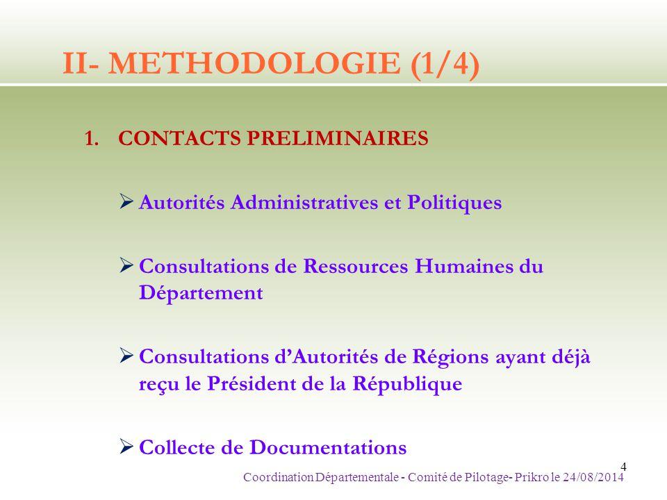 II- METHODOLOGIE (2/4) 2.MISE EN PLACE D'UN COMITE DE PILOTAGE  Autorités Administratives et Politiques NOM ET PRENOMSFONCTION 1 KOUASSI YaoDGA BICICI 2 Professeur OUATTARA OssenouPROFESSEUR DE MEDECINE 3Mme KAMAGATE Aramatou NicoleCHARGEE DE COMMUNICATION 4KOFFI YacoubaDSI SECURDOC 5SEM EKRA FlorentAMBASSADEUR 6DR LAMINE LachiroyPRESIDENT CNOP-CI Coordination Départementale - Comité de Pilotage- Prikro le 24/08/2014 5