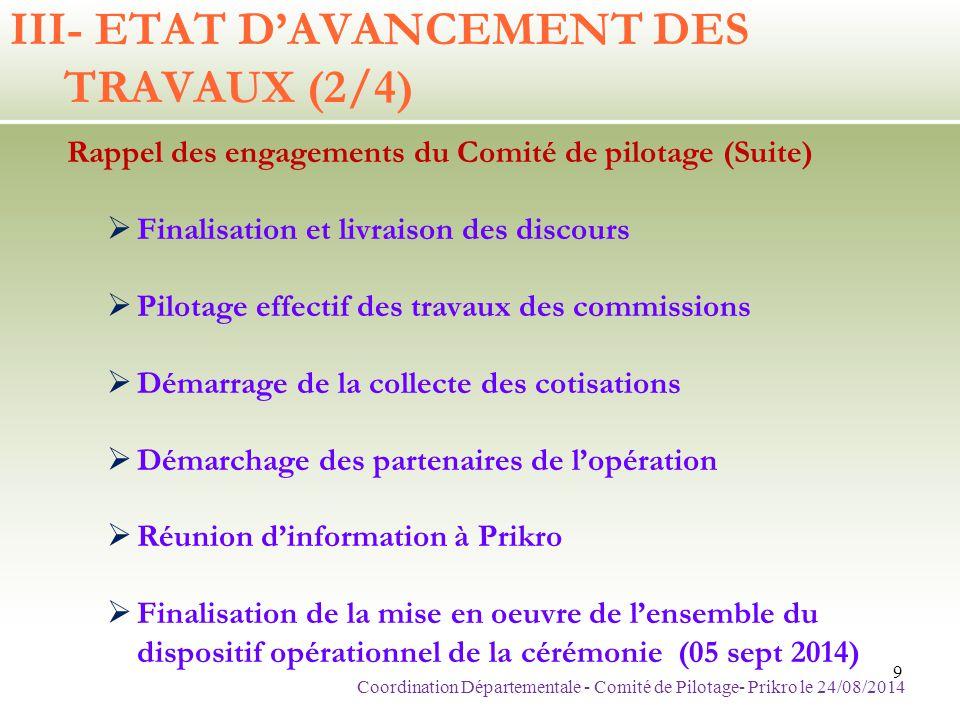 FINANCE ALLOU IGNACE 07 01 07 23 Coordination Départementale - Comité de Pilotage- Prikro le 24/08/201420