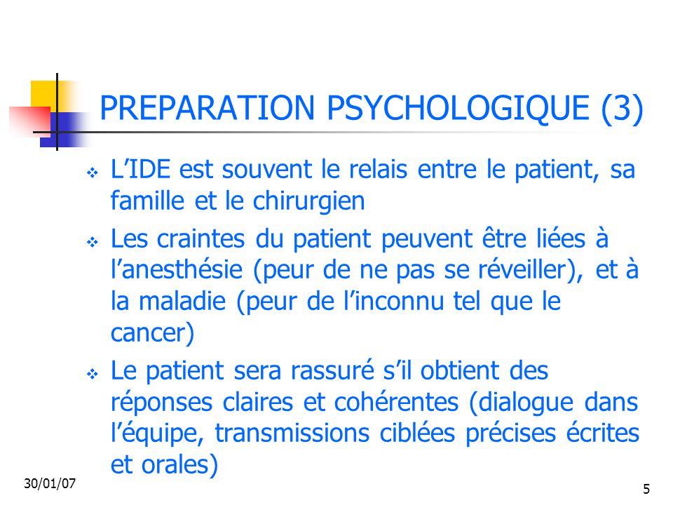 30/01/07 66 LES SOINS RELATIONNELS (3)  Cette phase est plus longue et douloureuse psychologiquement  Le patient peut traverser plusieurs phases : le refus (aggressivité ou passivité), le déni (pouvant aller jusqu'à la dépression) puis l'acceptation et la reconstruction.