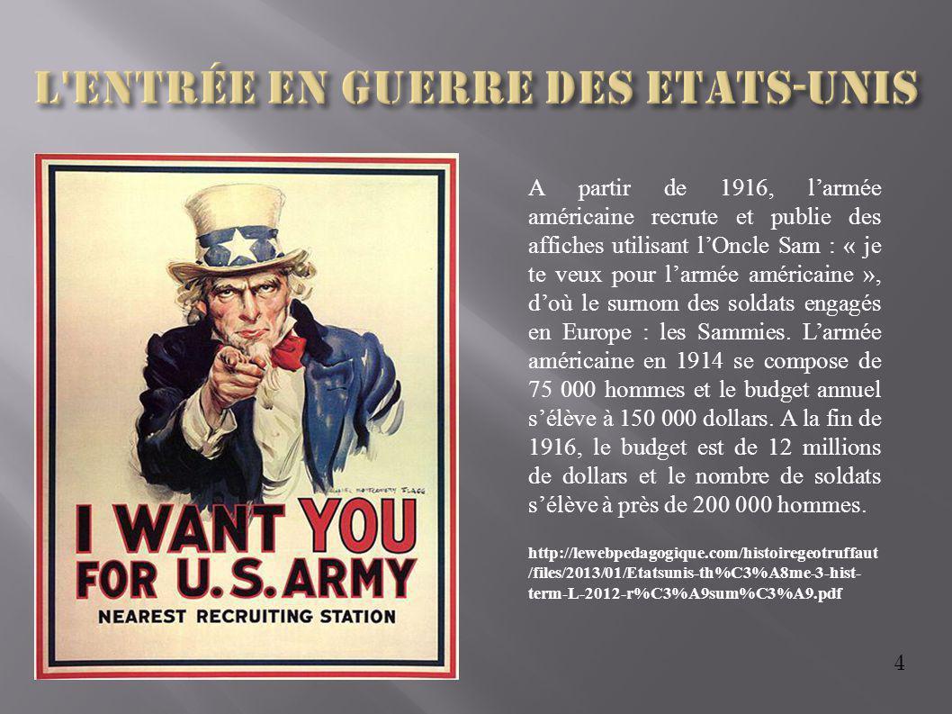 4 A partir de 1916, l'armée américaine recrute et publie des affiches utilisant l'Oncle Sam : « je te veux pour l'armée américaine », d'où le surnom d