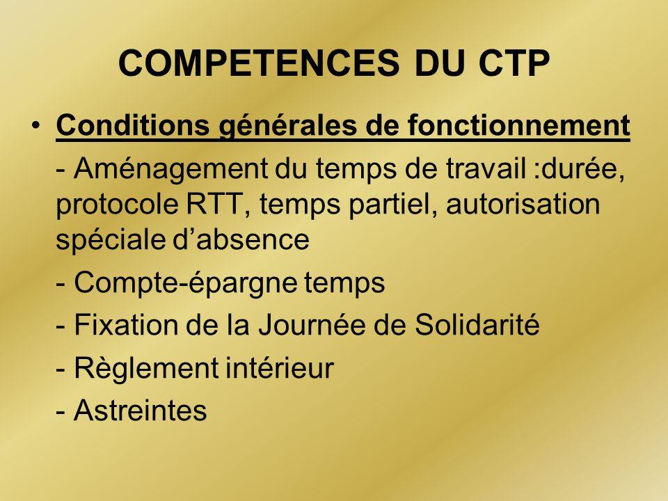 COMPETENCES DU CTP Conditions générales de fonctionnement - Aménagement du temps de travail :durée, protocole RTT, temps partiel, autorisation spécial