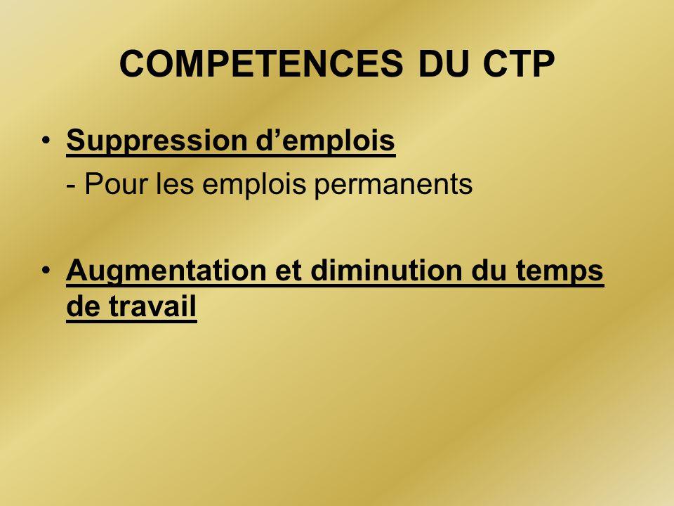 COMPETENCES DU CTP Suppression d'emplois - Pour les emplois permanents Augmentation et diminution du temps de travail
