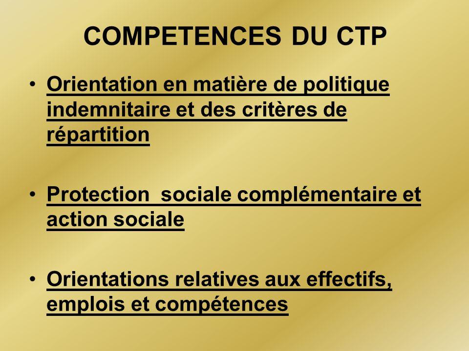 COMPETENCES DU CTP Orientation en matière de politique indemnitaire et des critères de répartition Protection sociale complémentaire et action sociale