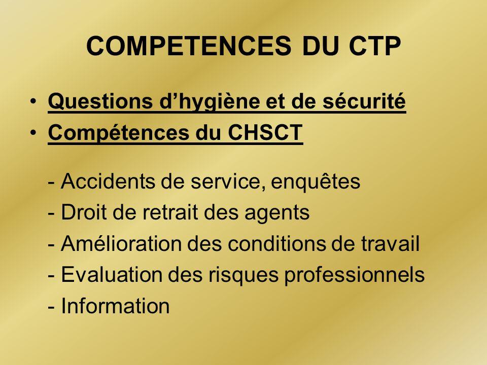 COMPETENCES DU CTP Questions d'hygiène et de sécurité Compétences du CHSCT - Accidents de service, enquêtes - Droit de retrait des agents - Améliorati