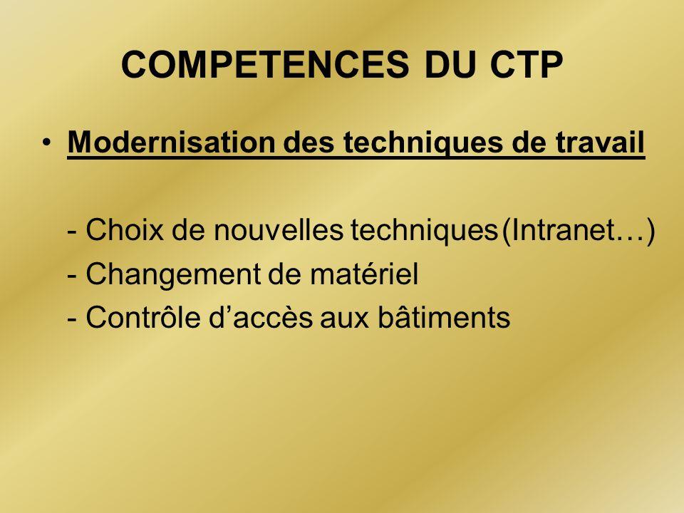 COMPETENCES DU CTP Modernisation des techniques de travail - Choix de nouvelles techniques (Intranet…) - Changement de matériel - Contrôle d'accès aux
